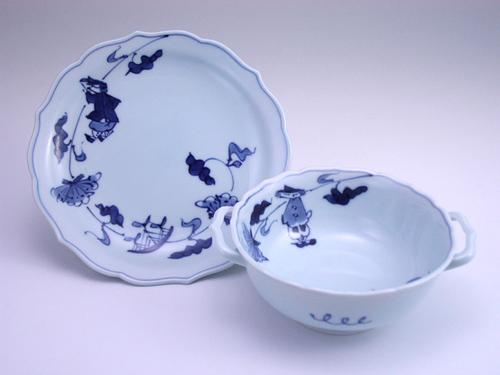 有田焼 青花 牡丹帆船耳付スープ碗皿