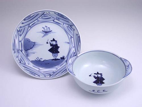 有田焼 青花 長崎紋丸耳付グラタン碗皿