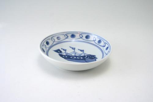 有田焼 青花 南蛮往来オランダ船3.6寸深小皿